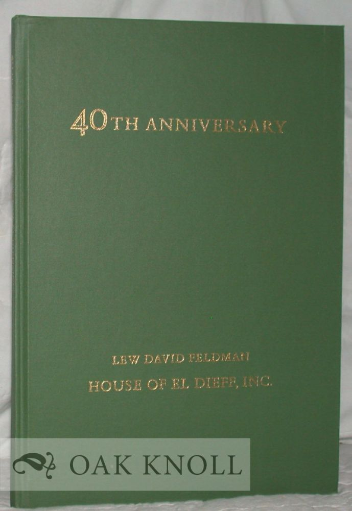 FORTIETH ANNIVERSARY CATALOGUE CONTAINING FORTY SELECTIONS FROM STOCK.