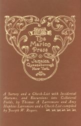 THE MARION PRESS, A SURVEY AND A CHECKLIST. Thomas A. Larremore, Amy Hopkins Larremore.