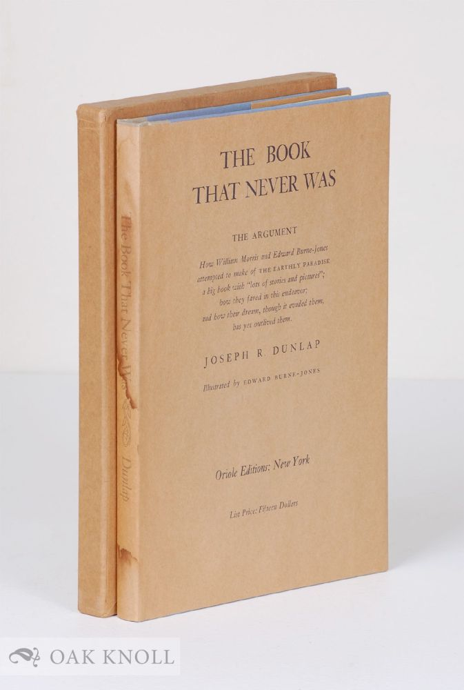 THE BOOK THAT NEVER WAS. Joseph R. Dunlap.