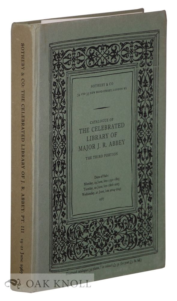 CATALOGUE OF THE CELEBRATED LIBRARY PART III