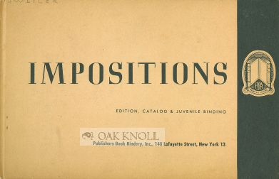 IMPOSITIONS, EDITION, CATALOG & JUVENILE BINDING