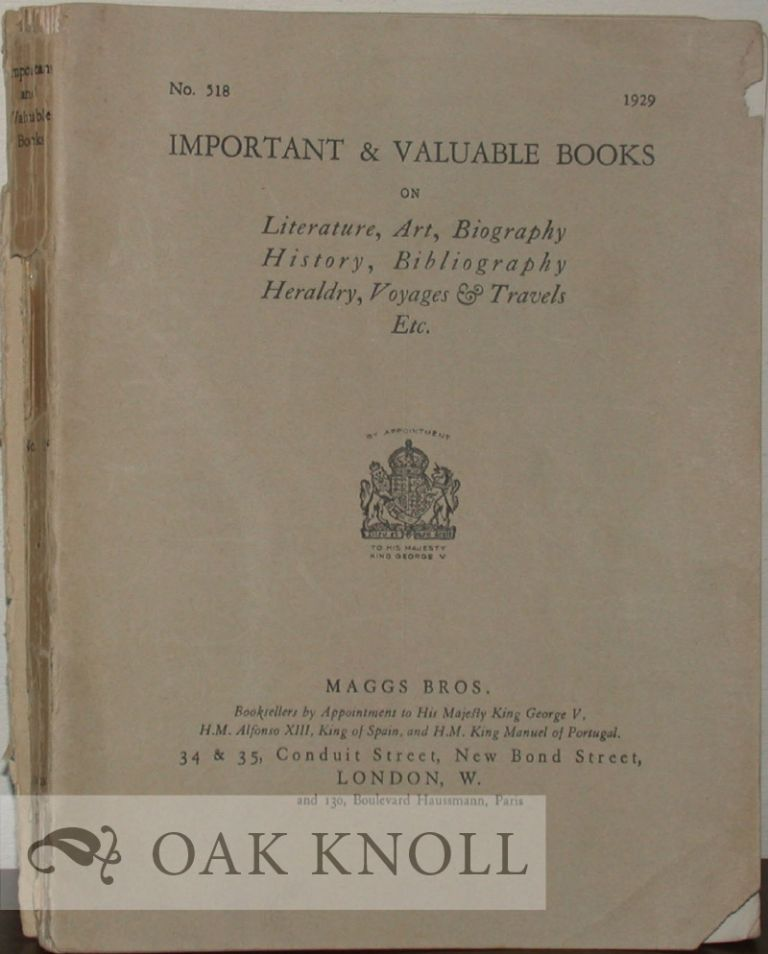 IMPORTANT & VALUABLE BOOKS ON LITERATURE, ART, BIOGRAPHY HISTORY, BIBLIOGRAPHY, HERALDRY, VOYAGES & TRAVELS, ETC. 518.