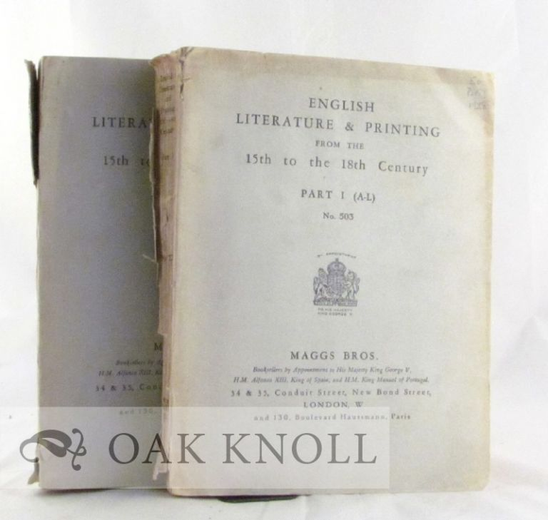 ENGLISH LITERATURE & PRINTING FROM THE 15TH TO THE 18TH CENTURY CATALOGUES 503 AND 505. 503, 505.