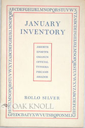 JANUARY INVENTORY. Rollo Silver.
