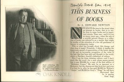 """"""" THIS BUSINESS OF BOOKS """" A. Edward Newton."""
