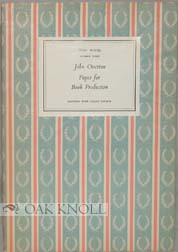 PAPER FOR BOOK PRODUCTION. John Overton.