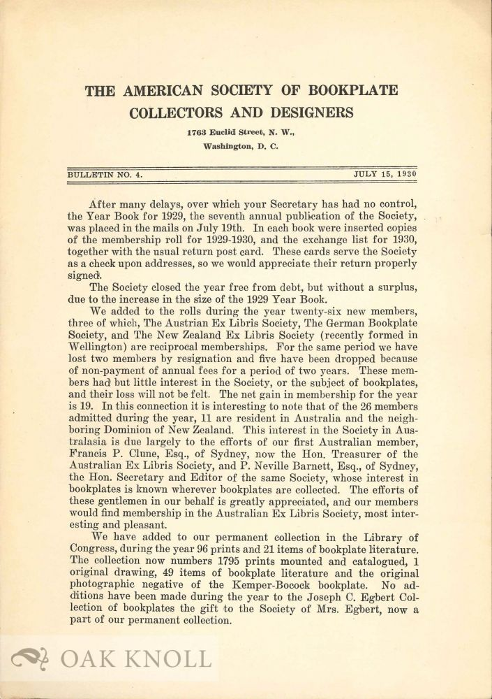 AMERICAN SOCIETY OF BOOKPLATE COLLECTORS AND DESIGNERS. BULLETIN.