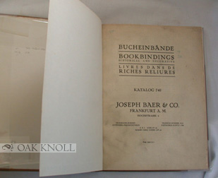 BOOKBINDINGS HISTORICAL AND DECORATIVE. KATALOG 740.