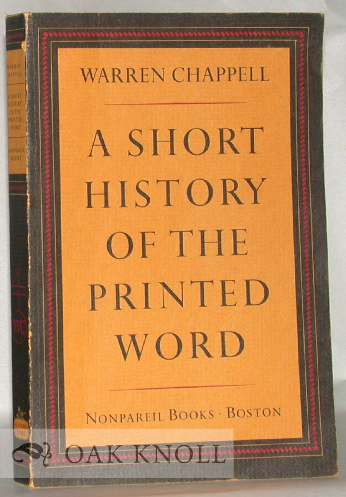 a short history of the printed word warren chappell