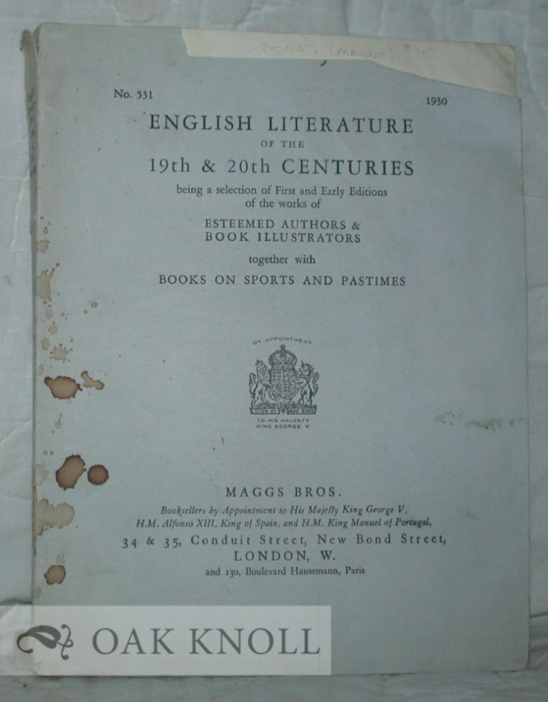 ENGLISH LITERATURE OF THE 19TH & 20TH CENTURIES. 531.