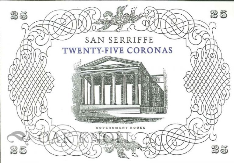 REPUBLIC OF SAN SERRIFFE WILL PAY TO THE BEARER ON DEMAND TWENTY-FIVE CORONAS.