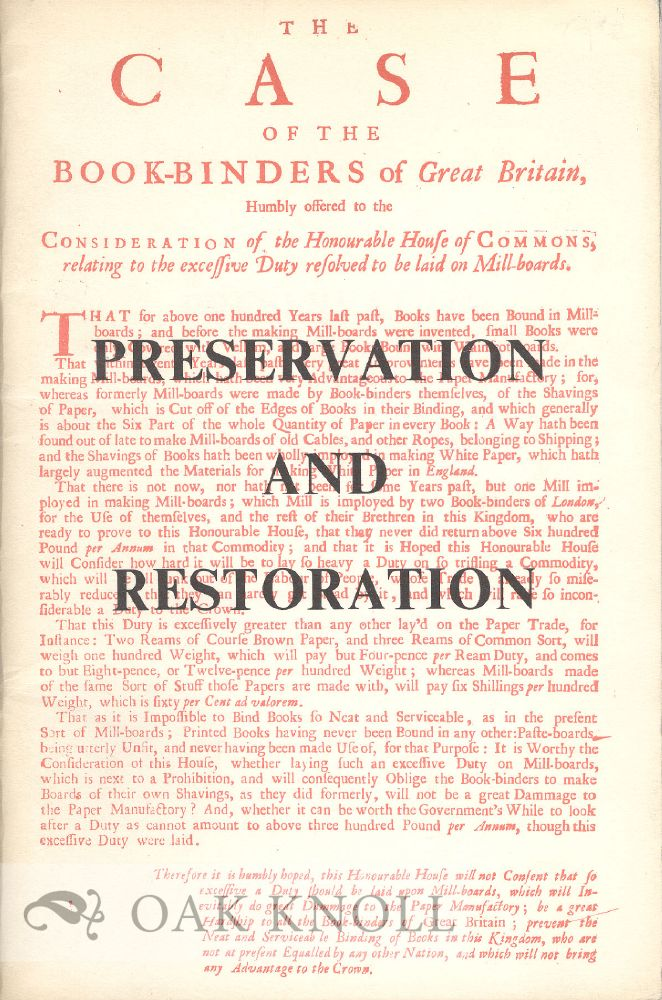 PRESERVATION AND RESTORATION, A BRIEF HISTORY, AND AN ACCOUNT OF WORK BEING DONE AT MILLS MEMORIAL LIBRARY, MCMASTER UNIVERSITY. John Holmes.