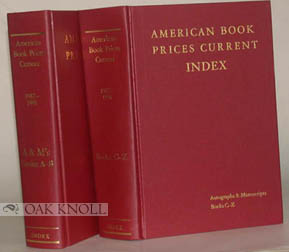 AMERICAN BOOK-PRICES CURRENT. 1987-1991. INDEX THE AUCTION SEASONS SEPTEMBER 1987 - AUGUST 1991.