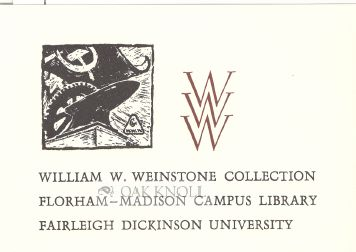 WILLIAM W. WEINSTONE COLLECTION BOOKPLATE.