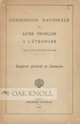 COMMISSION NATIONALE DU LIVRE FRANCAIS A L'ETRANGER RAPPORT GENERAL.