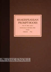 SHAKESPEAREAN PROMPT-BOOKS OF THE SEVENTEENTH CENTURY Vol. VI. Part i INTRODUCTION TO THE SMOCK ALLEY OTHELLO and Part ii TEXT OF THE SMOCK ALLEY OTHELLO. G. Blakemore Evans.