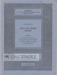 CATALOGUE OF PRIVATE PRESS BOOKS.