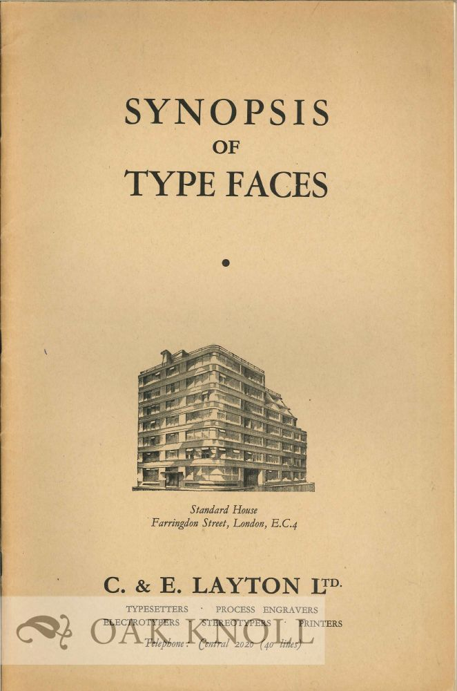 SYNOPSIS OF TYPE FACES. C., E. Layton Ltd.