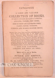 CATALOGUE OF A LARGE AND VALUABLE COLLECTION OF BOOKS IN VARIOUS LANGUAGES AND CLASSES OF LITERATURE