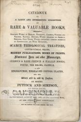 CATALOGUE OF A LARGE AND INTERESTING COLLECTION OF RARE & VALUABLE BOOKS