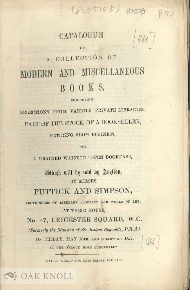 CATALOGUE OF A COLLECTION OF MODERN AND MISCELLANEOUS BOOKS.