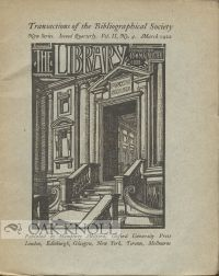 """"""" SOME NOTES UPON THE MANUSCRIPT LIBRARY AT HOLKHAM"""" C. W. James."""