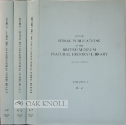 LIST OF SERIAL PUBLICATIONS IN THE BRITISH MUSEUM (NATURAL HISTORY) LIBRARY