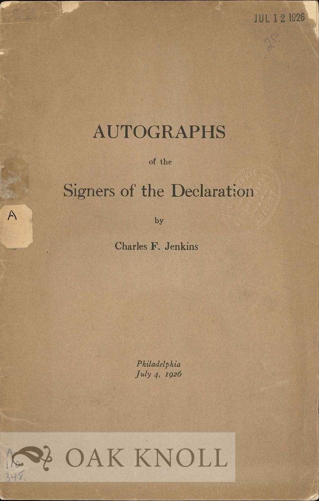 AUTOGRAPHS OF THE SIGNERS OF THE DECLARATION. Charles F. Jenkins.