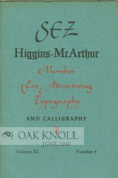 SEZ HIGGINS=MCARTHUR NUMBER FOR ADVERTISING TYPOGRAPHY AND CALLIGRAPHY