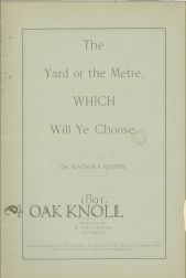 THE YARD OR THE METRE, WHICH WILL YE CHOOSE. Watson Fell Quinby.