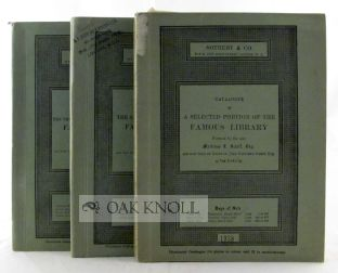 CATALOGUE OF A SELECTED PORTION OF THE FAMOUS LIBRARY PRINCIPALLY OF FINE BINDINGS, RARE ENGRAVINGS, ILLUSTRATED BOOKS, AND FRENCH LITERATURE FORMED BY THE LATE MORTIMER SCHIFF, ESQ. OF NEW YORK CITY.
