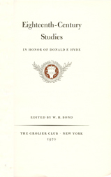 EIGHTEENTH-CENTURY STUDIES: IN HONOR OF DONALD F. HYDE. William H. Bond.