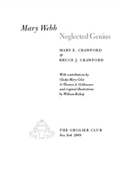 MARY WEBB: NEGLECTED GENIUS. Mary E. Crawford, Bruce J. Crawford.