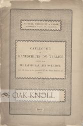 CATALOGUE OF MANUSCRIPTS ON VELLUM CHIEFLY FROM THE FAMOUS HAMILTON COLLECTION.