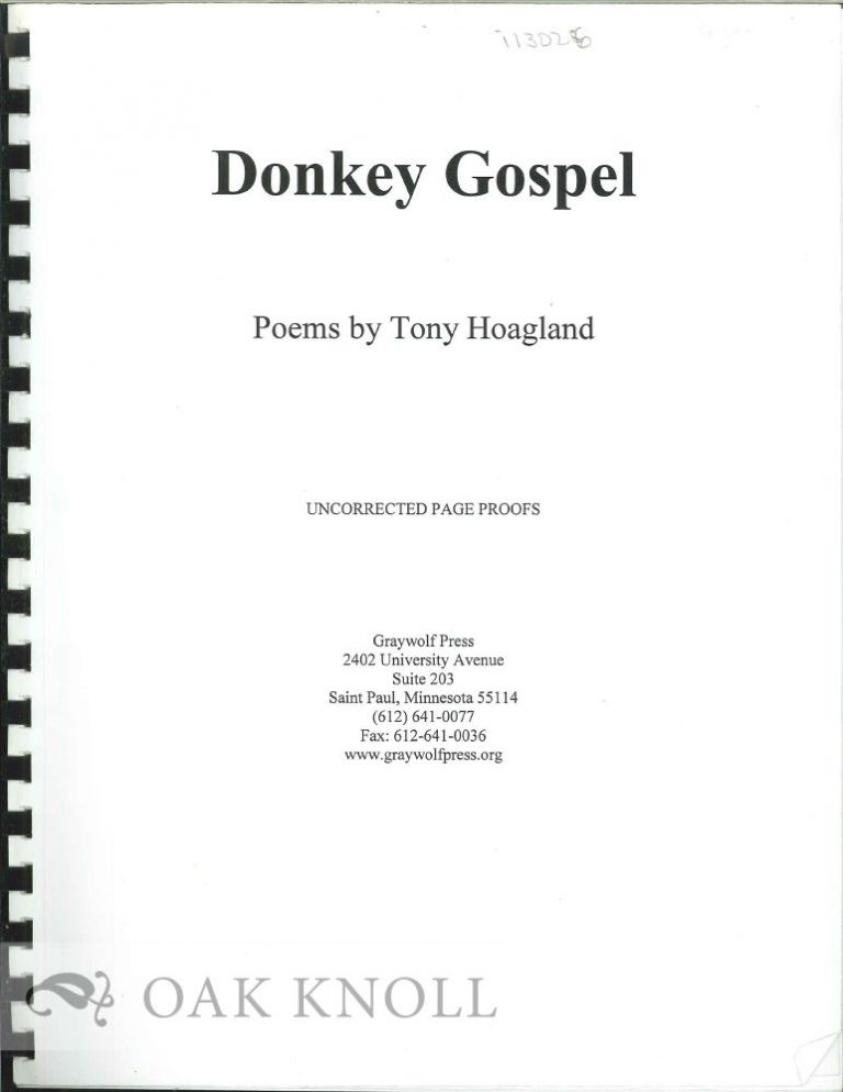DONKEY GOSPEL, POEMS. Tony Hoagland.