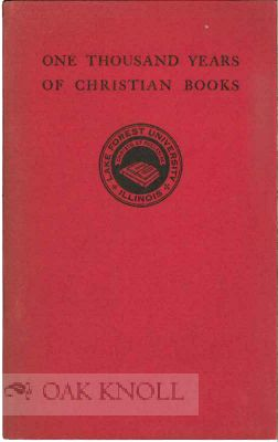 ONE THOUSAND YEARS OF CHRISTIAN BOOKS.