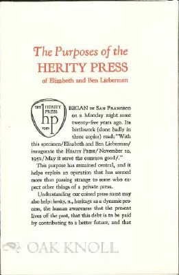 THE PURPOSES OF THE HERITY PRESS OF ELIZABETH AND BEN LIEBERMAN. Elizabeth and Ben Lieberman.