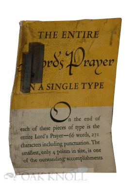 THE ENTIRE LORD'S PRAYER ON A SINGLE TYPE. ATF.