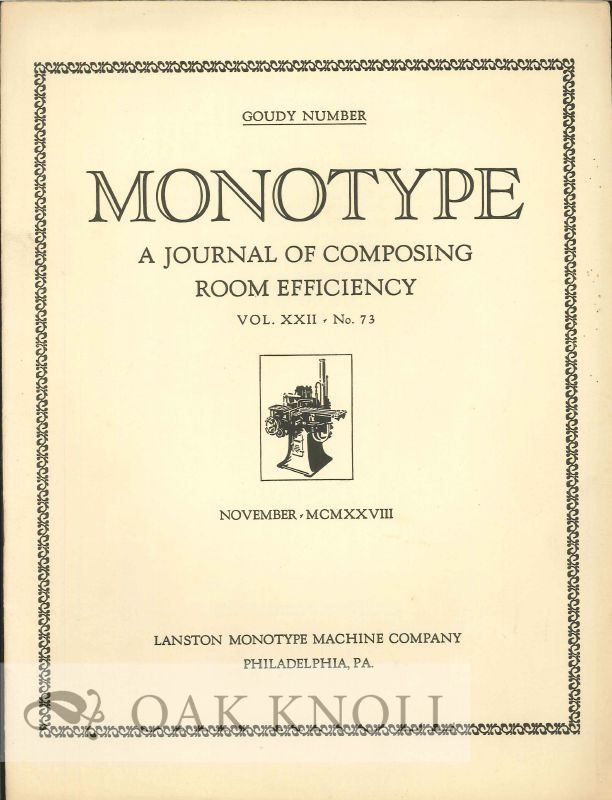 MONOTYPE: A JOURNAL OF COMPOSING ROOM EFFICIENCY.