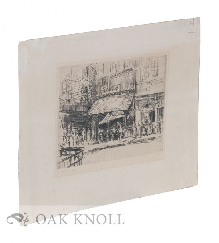 Engraving of a street scene in Germany. Ewald Thiel.