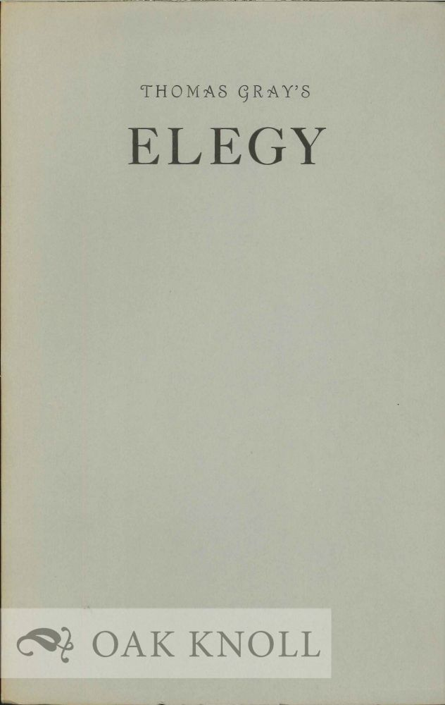 AN ELEGY WRITTEN IN A COUNTRY CHURCH-YARD & OTHER POEMS. Thomas Gray.
