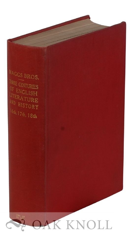 THREE CENTURIES OF ENGLISH LITERATURE AND HISTORY COMPRISING BOOKS, MANUSCRIPTS, AUTOGRAPH LETTERS AND DOCUMENTS. CATALOGUES 636, 640, 643, 653. With SUPPLEMENTARY. 640 636, 670, 643. 653.