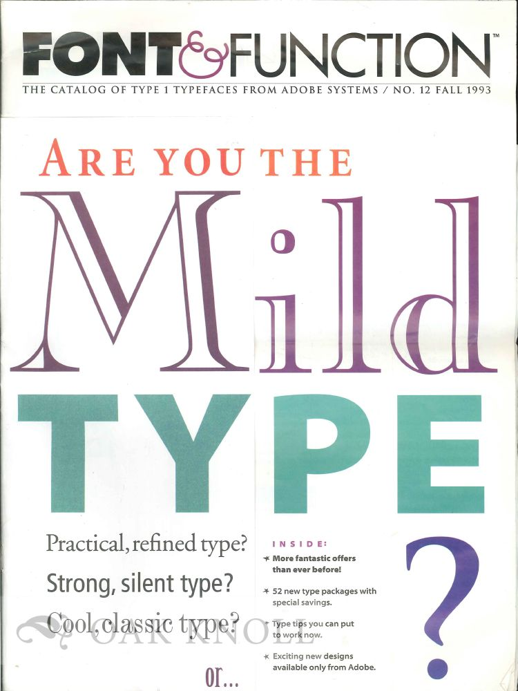 FONT & FUNCTION: THE CATALOG OF TYPE 1 TYPEFACES FROM ADOBE SYSTEMS. Adobe.