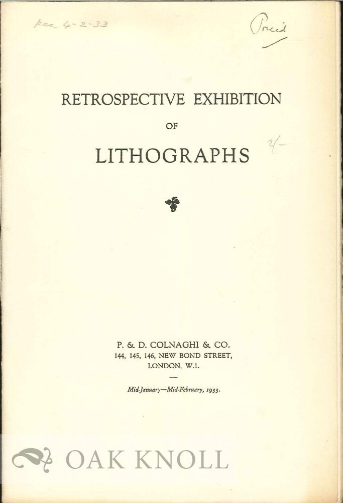 RESPECTIVE EXHIBITION OF LITHOGRAPHS.