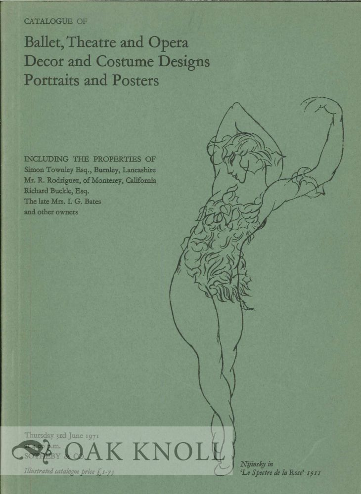 CATALOGUE OF BALLET, THEATRE AND OPERA DECOR AND COSTUME DESIGNS PORTRAITS AND POSTERS.
