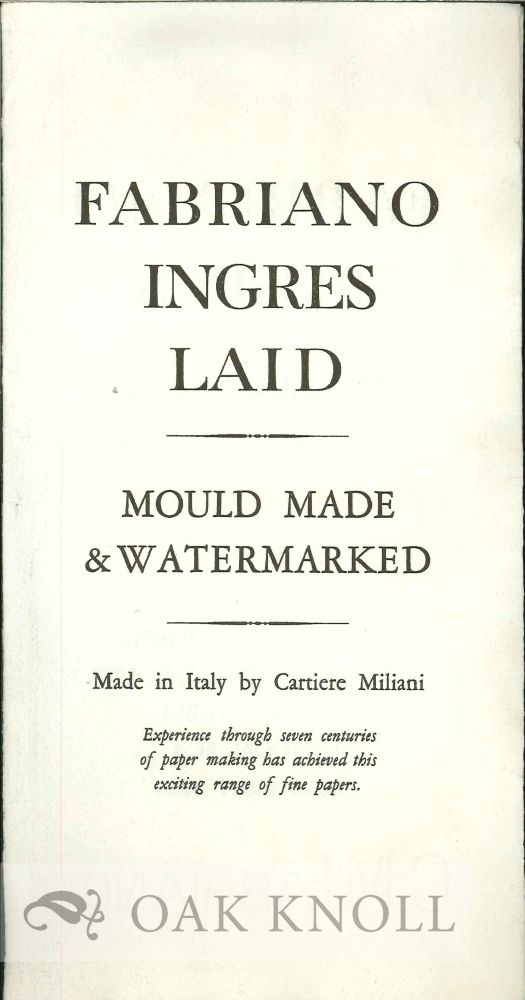 FABRIANO INGRES LAID: MOULD MADE & WATERMARKED. Cartiere Miliani.