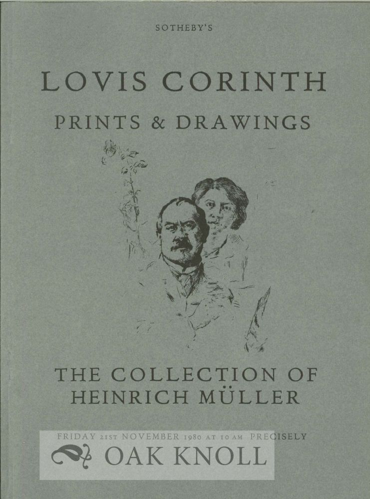 LOVIS CORINTH PRINTS AND DRAWINGS THE COLLECTION OF THE LATE HEINRICH MÜLLER.