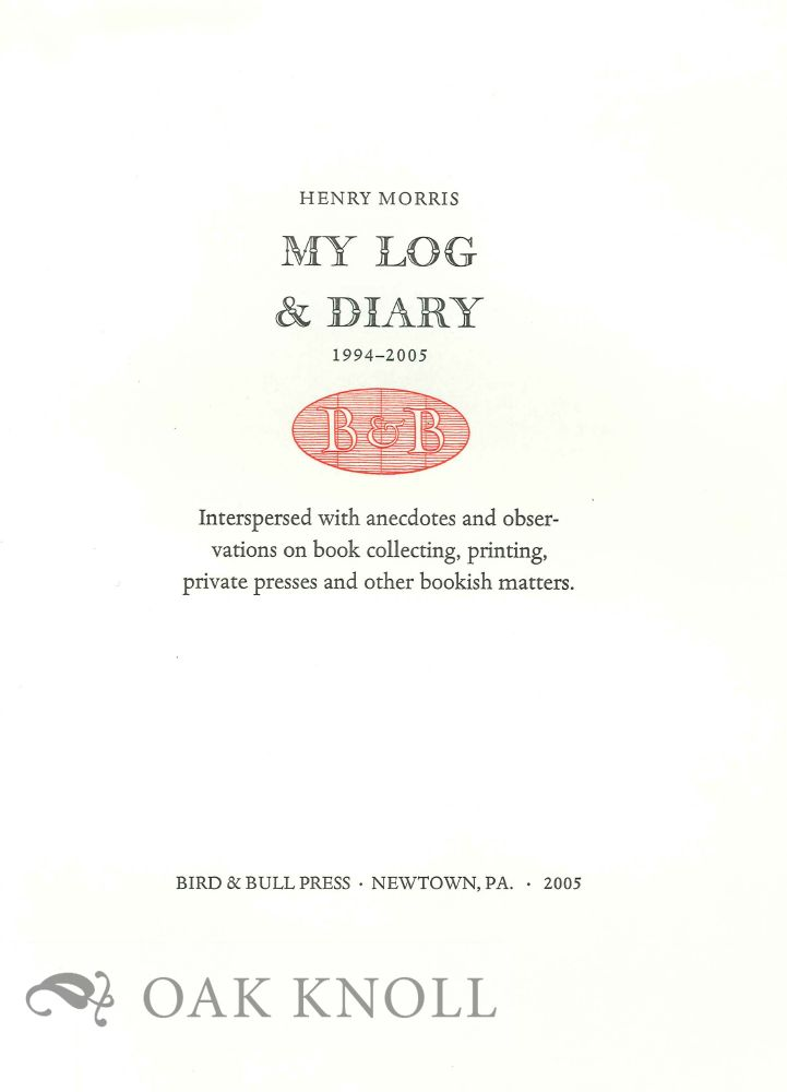 PROSPECTUS FOR MY LOG AND DIARY 1994-2005.