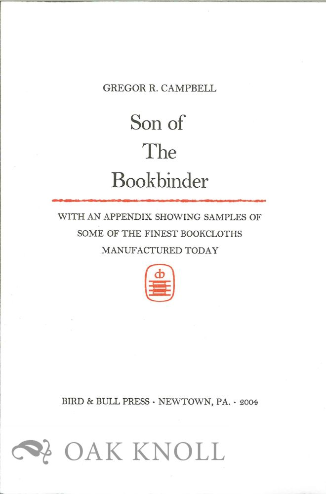 PROSPECTUS FOR SON OF THE BOOKBINDER.