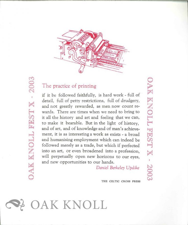 THE PRACTICE OF PRINTING. D. B. Updike.